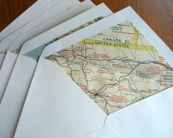 Set of 6 Envelopes lined with vintage maps of the Northwest United States and Canada.  Linings cut from 1950s maps.