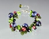 Blueberry Bracelet, adjustable length w lampwork glass blueberries, lobster clasp. Art glass sculpture bracelet.  Gift for her.