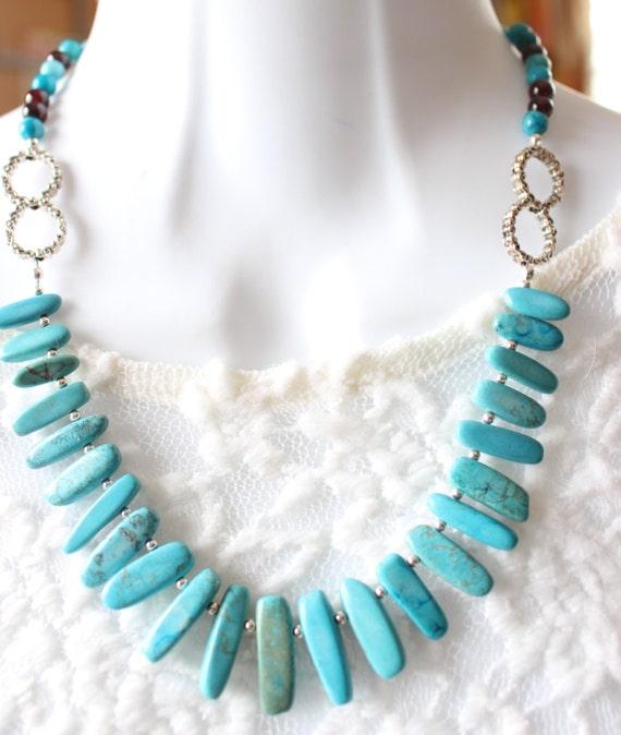 Turquoise Necklace, boho necklace, boho bib necklace, statement necklace, bib necklace, turquoise bib necklace