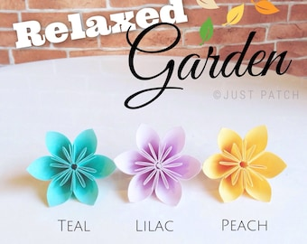 Relaxed Garden - Teal, Lilac, and Peach - 20 Origami Flowers