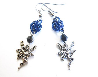 Blue faerie earrings, Fairy jewelry, Blue and black gothic earrings, Chainmaille Byzantine weave