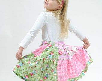 Girl's Patchwork Skirt, Toddler Skirt, Pink Skirt, Green skirt, Flowered skirt, size 2 3 4 5 6 7 8