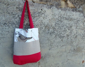 Color block fabric bag with embroidered details of birds. Medium size tote in fuchsia white and sand