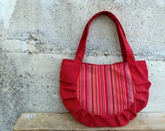 Burgundy bag in repurposed dark red upholstery fabric and striped fabric - Bonsai bag