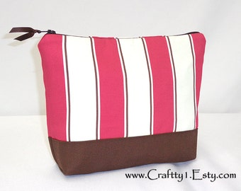 Dark Coral Pink and White Stripes - Ladies Zip Pouch (Medium)