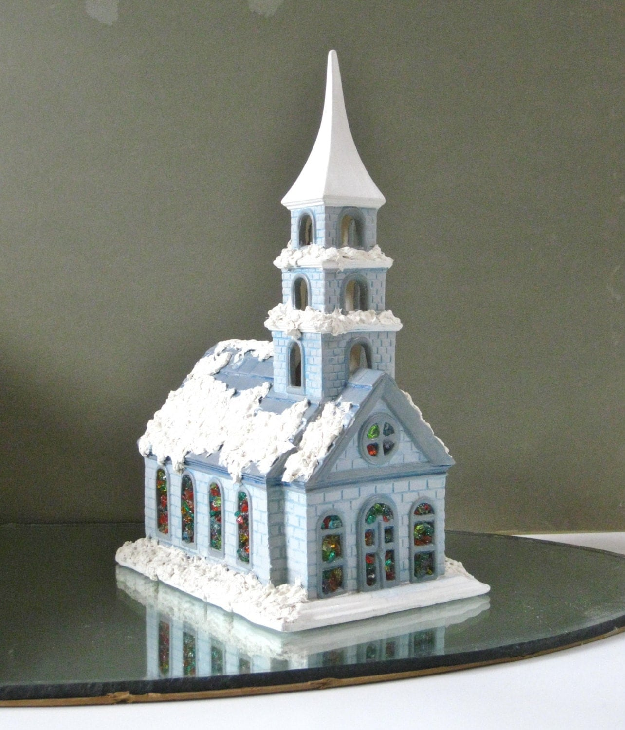 Painting Church In Snow Religious Christmas Ceramic: Vintage Lighted Church Christmas Village Scene Large Ceramic