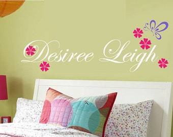 Childrens Wall Decal Monogram Butterfly Flowers Children Wall Decals   EXTRA LARGE