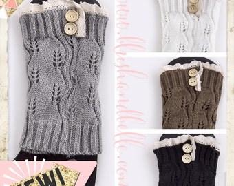 Crochet Lace Button Boot Topper Knit Legwarmer Gray Ivory Mocha and Black