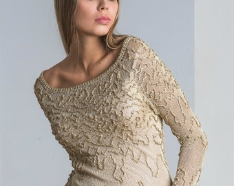 Handmade/Knitted sweater/viscose/gold color