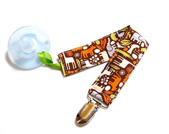 Pacifier Clip - 2D Zoo Animals Brown - Baby Boy Soothie Clip - Mam Holder - Nuk Avent