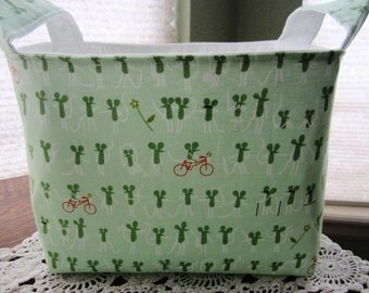 Fabric Organizer Container Lizzy House Catnap Lime Green Mouse Bin Storage Basket -