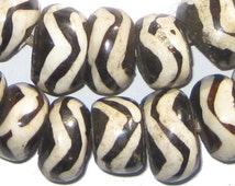40 Wave Design Batik Bone Beads Large - African Bone Beads - Jewelry Making Supplies - Made in Kenya + (BON-RND-WAV-244)