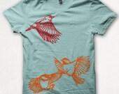 Womens Tshirt Finch Chickadees Fitted Bird Shirt Graphic Tee Screenprint - Aqua
