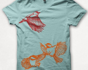 Womens Tshirt Finch Chickadees Fitted Bird Shirt Graphic Tee Screenprint - Aqua