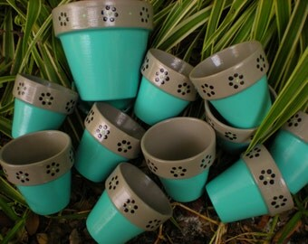 Painted Flower Pots - Aqua and Gray - Small Flower Pots - Set of 10