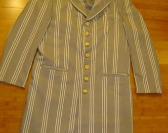 Halloween Costume Gangster Zoot suit gray white stripe vintage jacket men's sz 38 R one of a kind