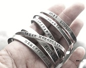 Personalized Custom Silver Bracelet Bangle Handstamped Engraved - Simple Sleek Stackable