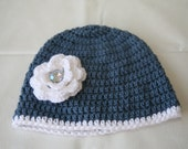4T crochet beanie hat with flower denim like blue gift idea for toddler girls birthday christmas acrylic made in usa