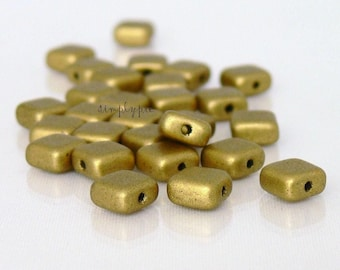 Satin Aztec Gold 6mm Square Czech Glass Beads 25