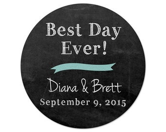 Personalized Wedding Stickers - Best Day Ever - Chalkboard Stickers - Favor Stickers - Casual Wedding Labels