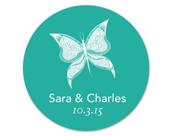 Custom Wedding Stickers - Personalized Wedding Labels - Favor Stickers - Butterfly Favors - Custom Favor Stickers - Personalized Labels