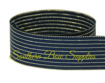 "1.5"" Inch Grosgrain Ribbon---5 Yards---Thin Gold Stripes---Navy---Hair bow Making Supplies"