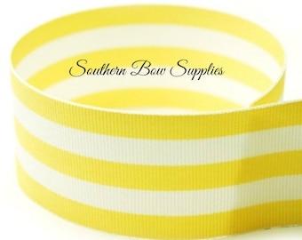 1.5 inch Grosgrain Ribbon-----3 Yards-----Big Stripes-----Yellow White------Hair bow Making Supplies