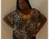 Reserved - Melinda- Posh N Petals Leopard  Blouse with wood bead embellished collar-  1 X - 2 X  Plus Size Blouse