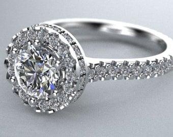 1.57 carat diamond eternity halo ring in 14k white gold.