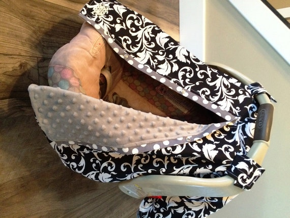 Car seat canopy Black Elegance and Grey Minky SO warm and Cute