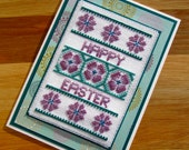 Happy Easter Floral Handmade Cross Stitch Card in Teal and Purple