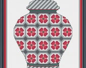 PDF Download - Red and Grey Floral Ginger Jar - An Original Cross Stitch Design, Chart, Pattern by CrossStitchCards