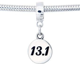 Half Marathon Jewelry-13.1 Sterling Silver Dangle Charm Bead- Fits on European Bracelets-Sports Jewelry