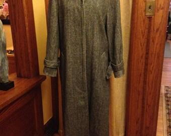 Classic Vintage Herringbone Tweed Coat by Perry Ellis