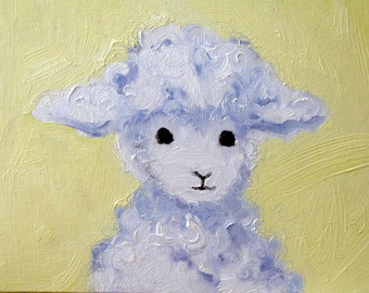 Lamb in Yellow 8 x 8 (20 x 20 cm) oil painting on linen canvas board. Mouton. Lamb painting. Nursery. Baby gift. Nursery decor.
