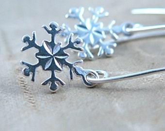 Silver Snowflake Earrings, Snowflake Jewelry, Snow Flake Jewelry, Winter Wedding, Bridesmaid Snowflake, Christmas Gift
