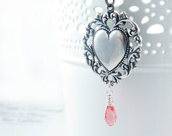 Silver Heart Pendant Mothers Day Necklace Art Deco Style Rose Swarovski Briolette Peach Crystal- Scarlett