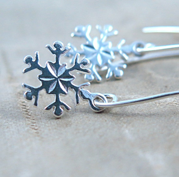 Snowflake Earrings Sterling Silver Earrings Gift for Her Snowflake Jewelry Ice Skating Christmas Gift