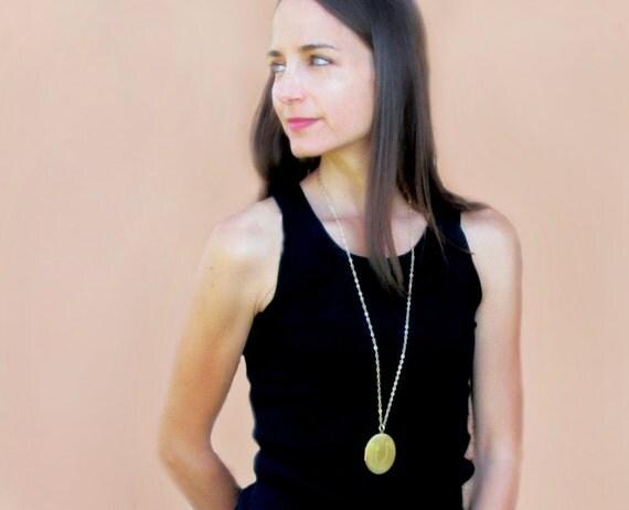Large Locket Necklace, Gold Locket Necklace, Vintage Locket, Memory Gift for Women, Wedding Day Gift