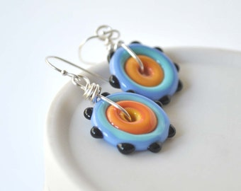 Colorful Disc Earrings, Lampwork Glass Earrings, Artisan Earrings