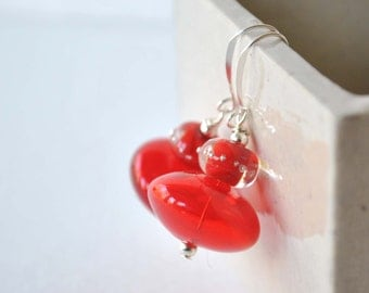 Red Earrings, Festive Holiday Earrings, Glass Bead Earrings, Lampwork Earrings, Christmas Earrings