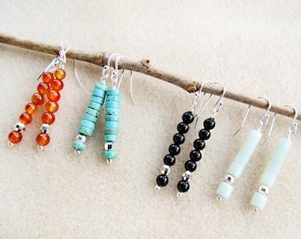 Stick Style Gemstone Earrings, Orange Carnelian, Turquoise Howlite, Black Onyx, Mint Amazonite, Sterling Silver, Handmade Jewelry Earrings