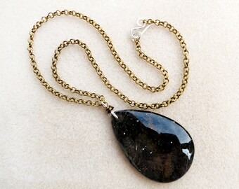 Black Fossil Jasper Tear Drop Pendant on Golden Aged Brass Rolo Chain, Forged Silver Hook Clasp, Gemstone Pendant Necklace, Handmade Jewelry