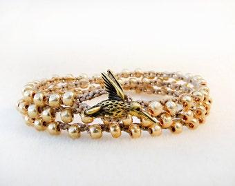 Hummingbird Bracelet, Gold Knotted Wrap, Bracelet or Necklace, Golden Aged Brass, Joy Kolibri, Fiber, Hand Crochet Jewelry, Handmade Jewelry