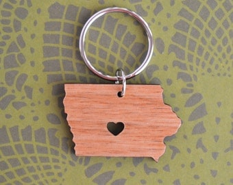 Des Moines, Iowa Love Wood Key Ring