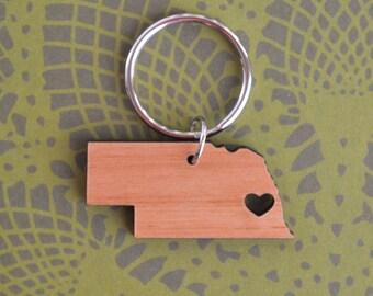 Omaha, Nebraska Love Wood Key Ring