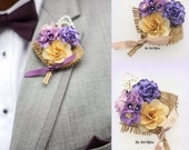 Boutonniere, Corsage, Button Hole, Groom, Groomsmen, Mother of the Bride, Shabby Chic, Lilac, Tan, Purple, Pearls, Burlap, Rustic
