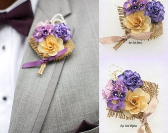 Boutonniere, Lilac, Tan, Purple, Corsage, Button Hole, Groom, Groomsmen, Mother of the Bride, Shabby Chic, Pearls, Burlap, Rustic