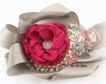 Sash, Fuchsia, Grey, Silver, Gray, Rose, Pink, Platinum, Elegant Wedding, Vintage Style,Crystals, Satin, Pearls, Lace
