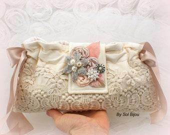 Wedding Clutch, Lace Handbag, Champagne, Ivory, Tan, Beige, Rose, Blush, Bag, Purse, Pearls, Crystals, Vintage Style, Elegant